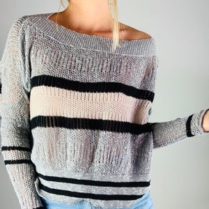 FREE PEOPLE Striped Cotton Linen Oversized Sweater